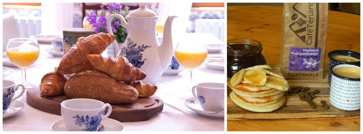 two images showing breakfast at Le Cheval Blanc: a tea pot on the table along with fresh croissants and glasses of fresh orange juice, and a pile of freshly-made vegan pancakes with coffee and homemade preserves