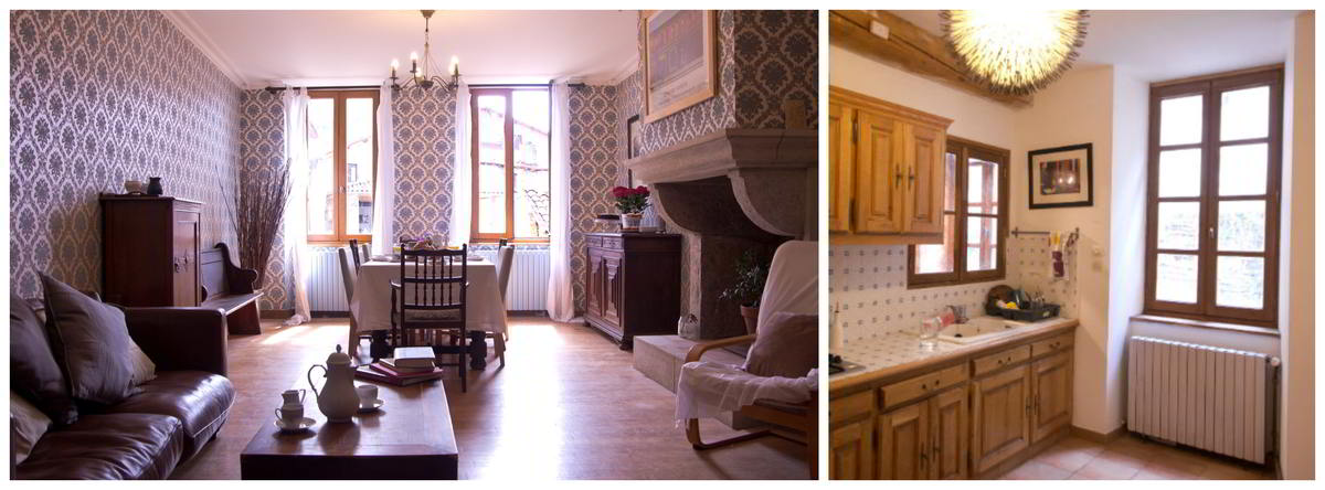Two images showing the communal spaces at the Le Cheval Blanc B&B in St Antonin Noble Val. A large room with an ope fireplace, a dining large wooden dining table, with a lounge area in the foreground. A small kitchen area, with a sink and cupboards.