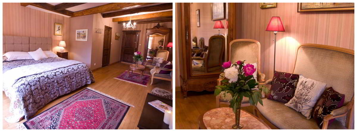 Two images showing the double bed and the lounge area of the double room, mazerac, in the Le Cheval Blanc B&B in St Antonin Noble Val