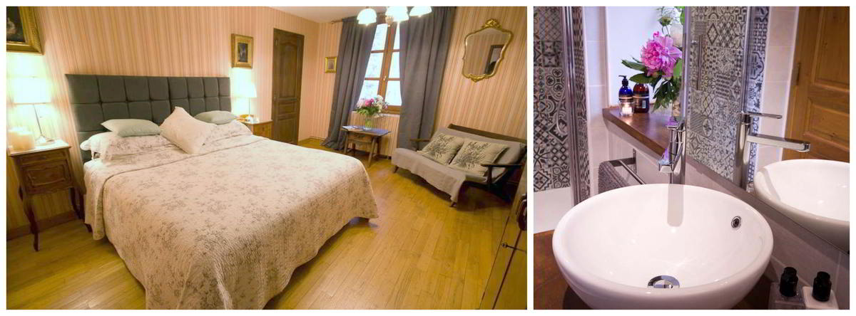 Two images showing the double room and attached ensuite shower room at Le Cheval Blanc, St Antonin Noble Vale