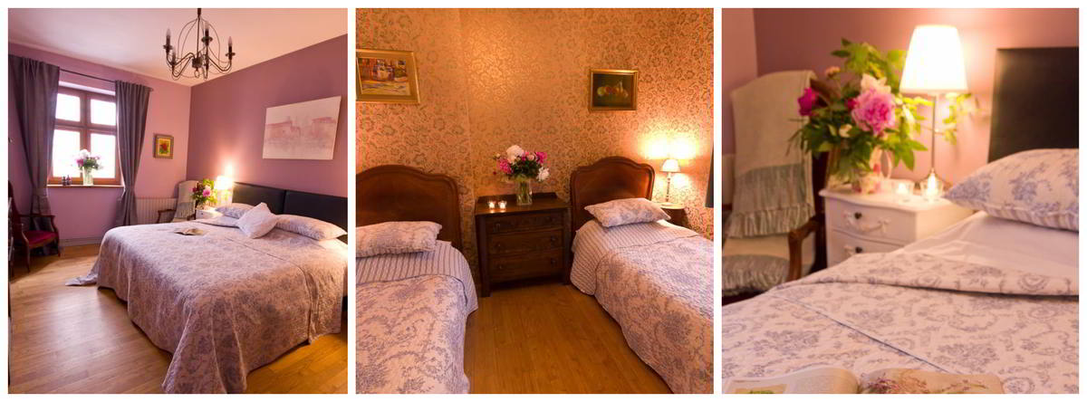 Three images showing the main double bedroom, the attached twin bedroom, and a close up of flowers on the bedside table